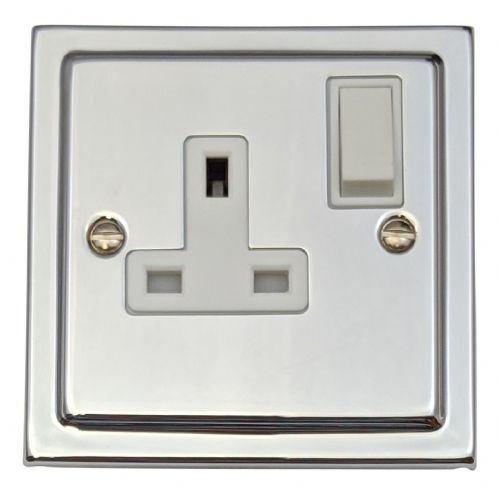 G&H TC9W Trimline Plate Polished Chrome 1 Gang Single 13A Switched Plug Socket